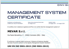 UNI EN ISO 9001:2015 certification